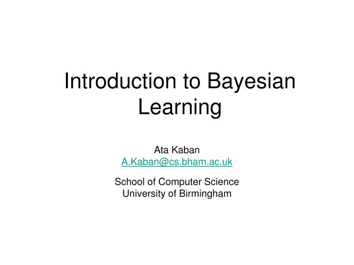 introduction to bayesian learning n.