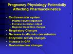 pregnancy physiology potentially affecting pharmacokinetics