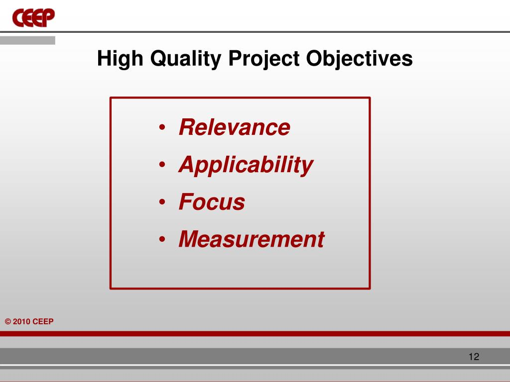 High Quality Project Objectives