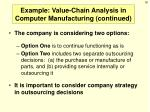 example value chain analysis in computer manufacturing continued