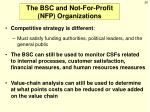 the bsc and not for profit nfp organizations