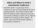 when and where to hold a scoutmaster conference