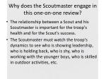 why does the scoutmaster engage in this one on one review