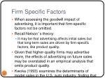 firm specific factors