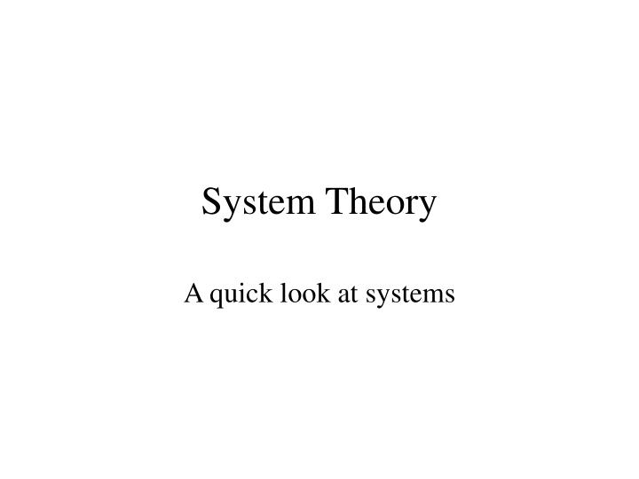 system theory n.