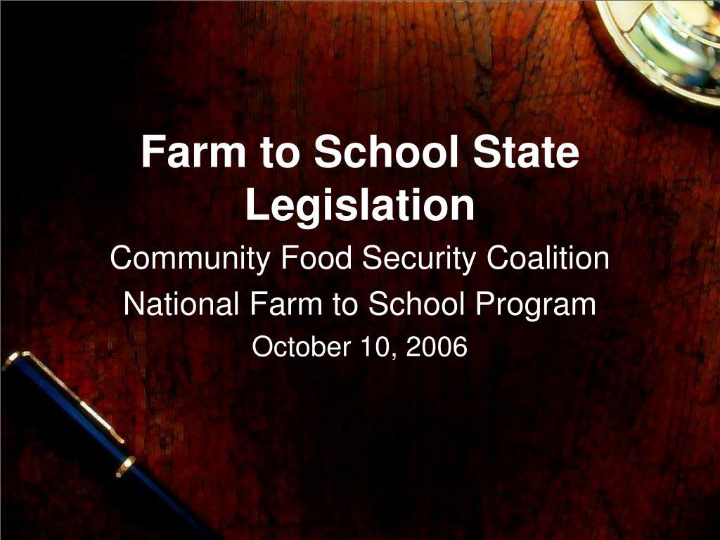 farm to school state legislation l.