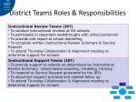 district teams roles responsibilities