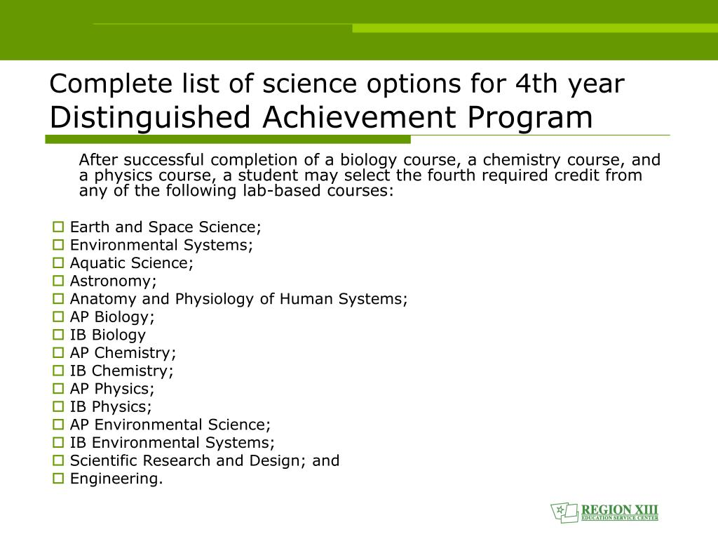 Complete list of science options for 4th year