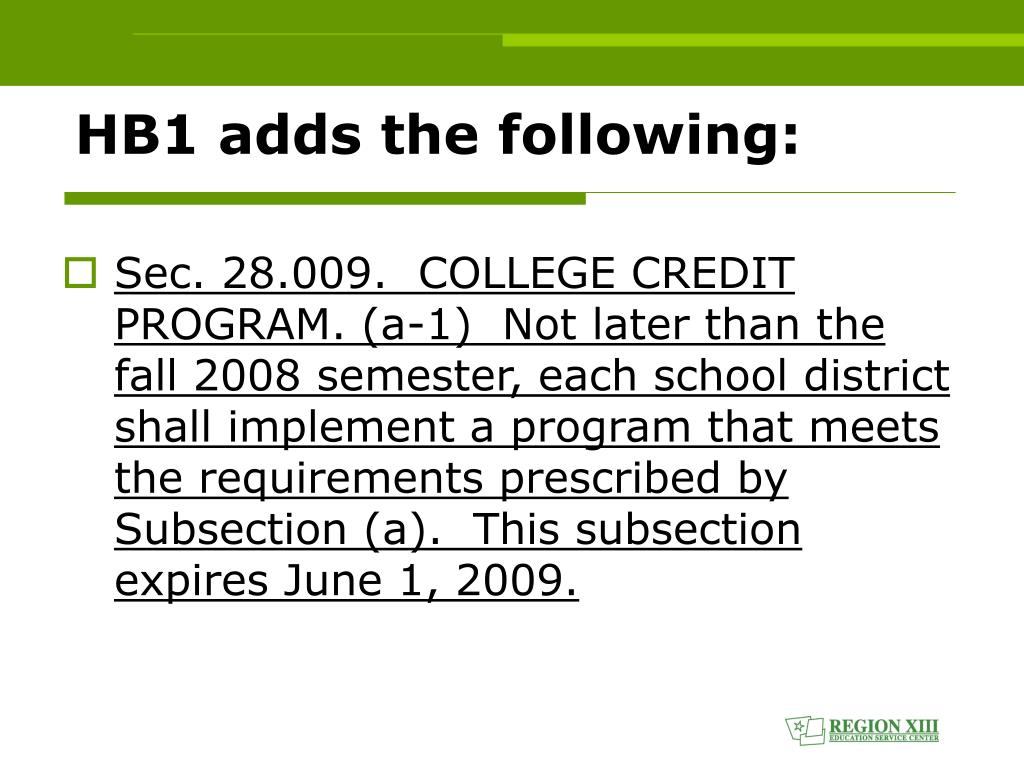 HB1 adds the following: