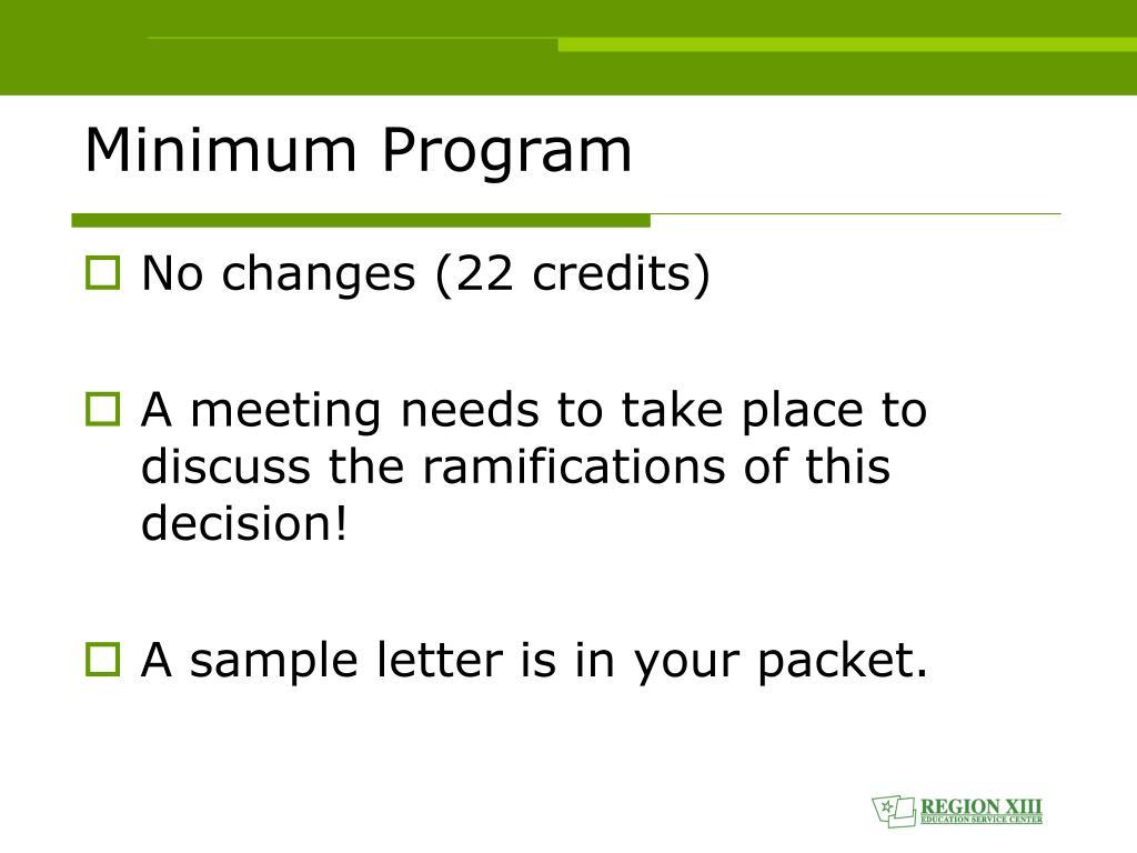 Minimum Program