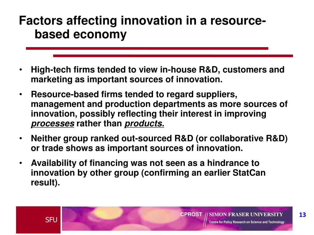 Factors affecting innovation in a resource-based economy