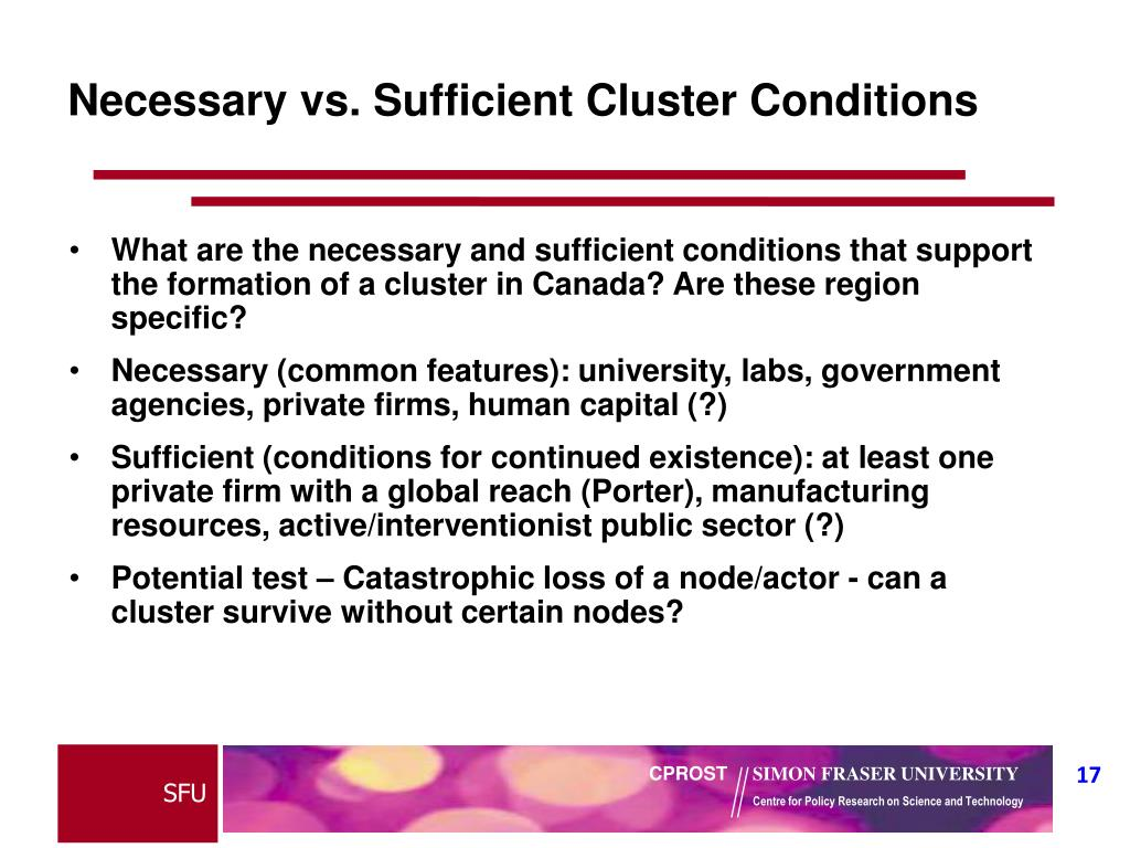 Necessary vs. Sufficient Cluster Conditions