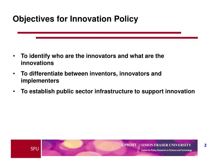 Objectives for innovation policy