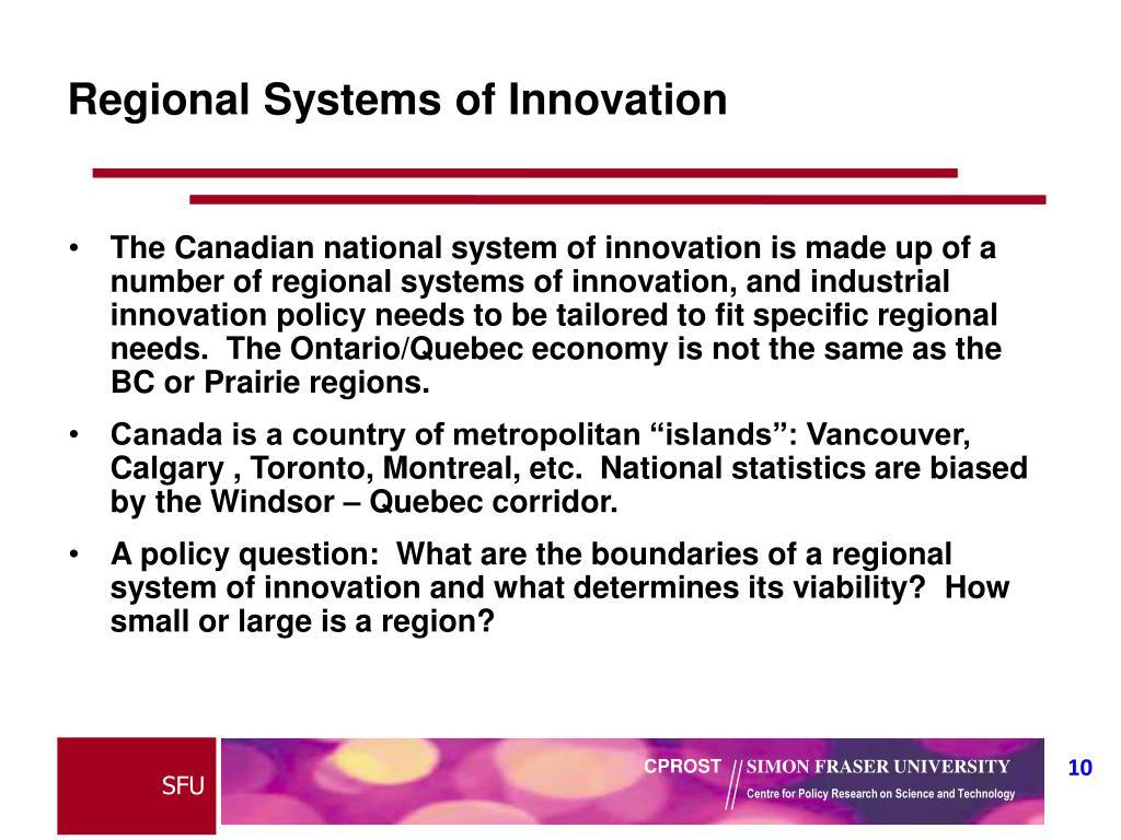 Regional Systems of Innovation