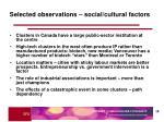 selected observations social cultural factors