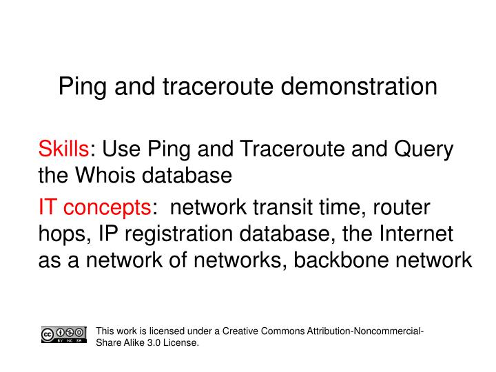 ping and traceroute demonstration n.