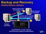 backup and recovery authoritative restore