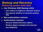backup and recovery restoring system state data