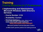 training training resources for it professionals