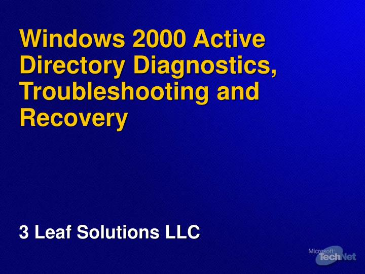 windows 2000 active directory diagnostics troubleshooting and recovery n.