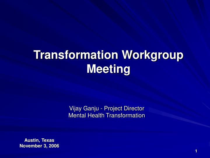 transformation workgroup meeting n.