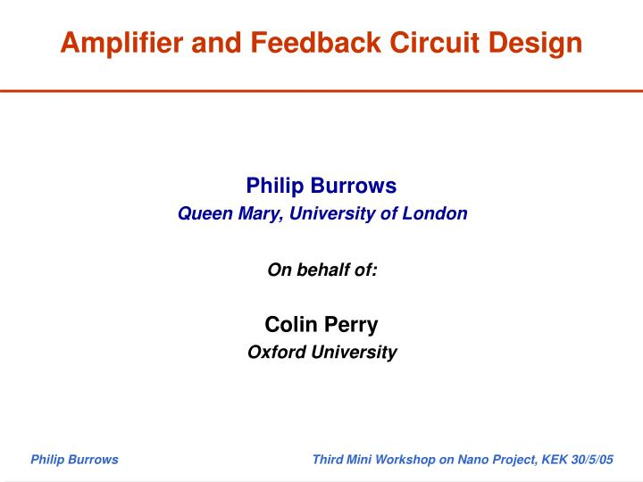 amplifier and feedback circuit design n.
