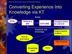 converting experience into knowledge via kt
