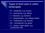 types of land uses in urban landscapes
