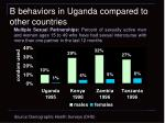 b behaviors in uganda compared to other countries