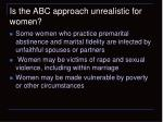 is the abc approach unrealistic for women1