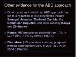 other evidence for the abc approach