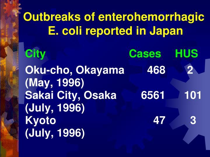Outbreaks of enterohemorrhagic