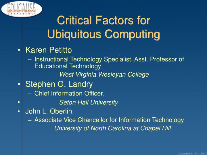 critical factors for ubiquitous computing n.