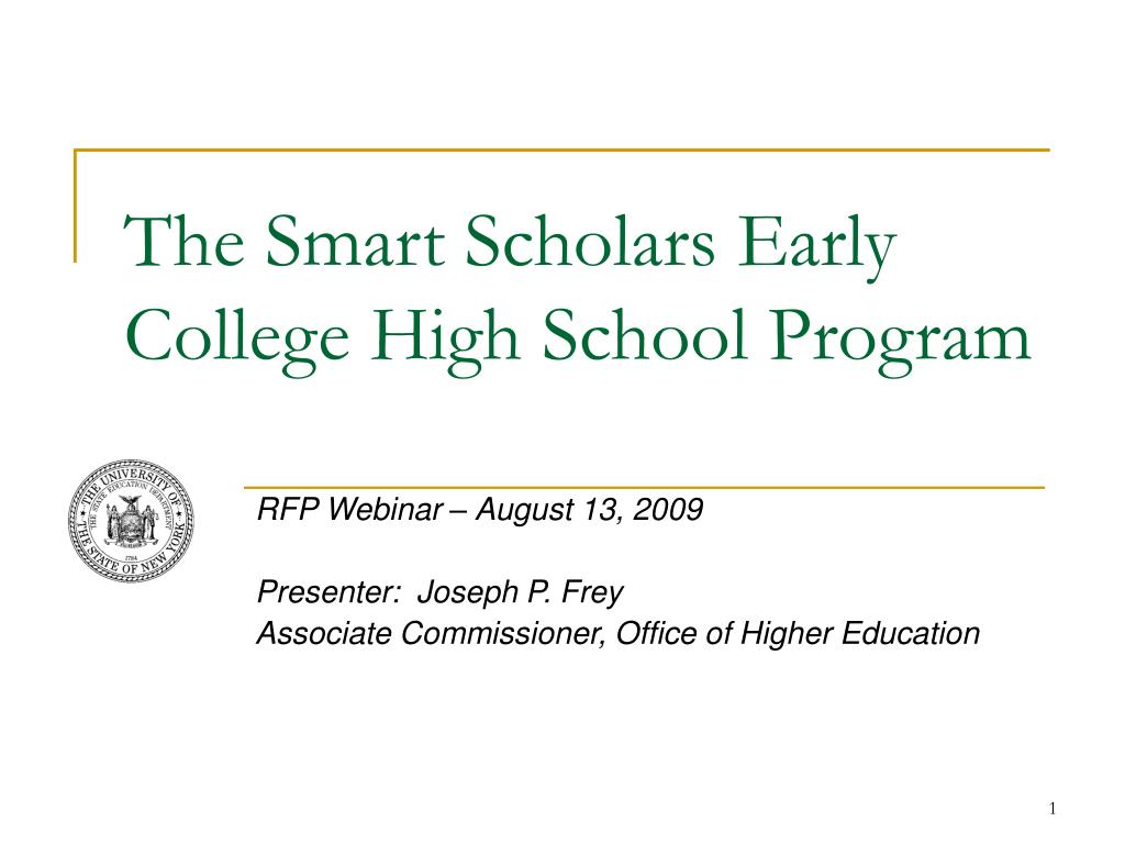 the smart scholars early college high school program l.