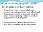 communication opportunities for middle and high school17