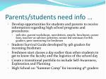 parents students need info12