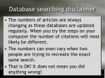 database searching disclaimer