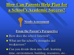 how can parents help plan for a school s academic success