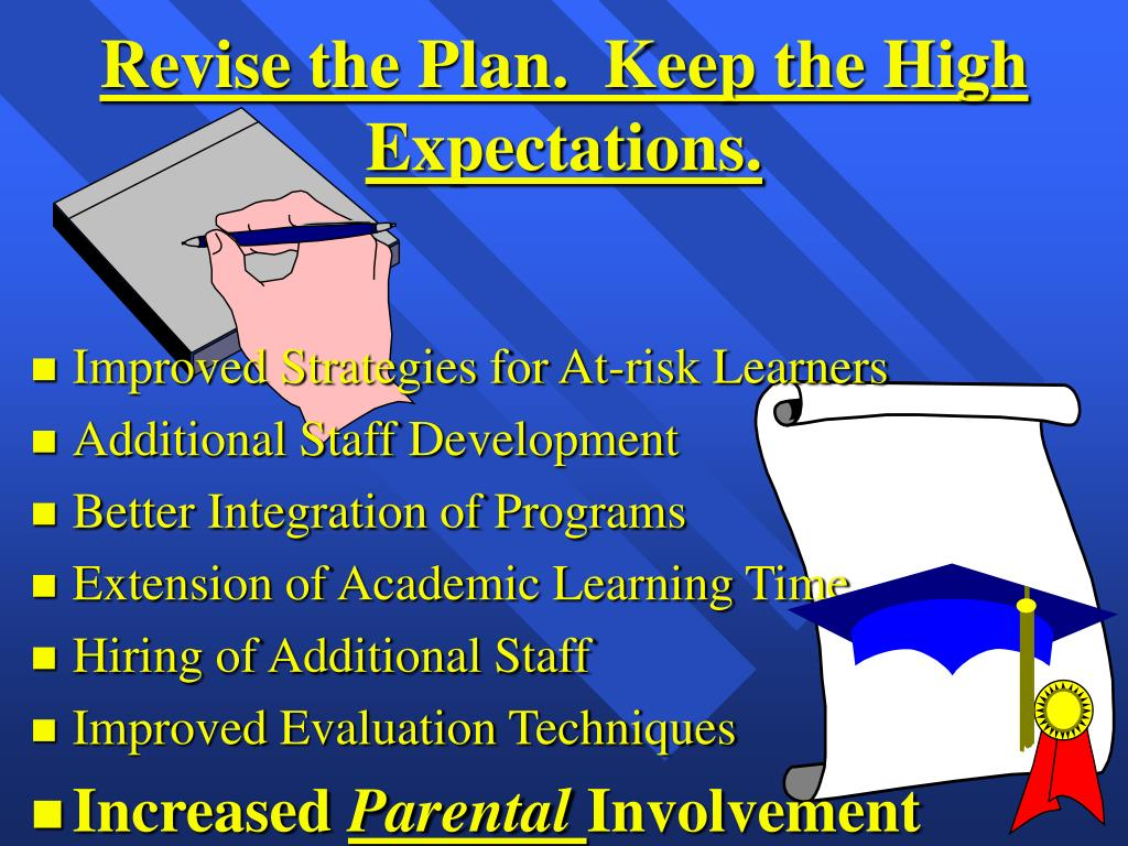Revise the Plan.  Keep the High Expectations.