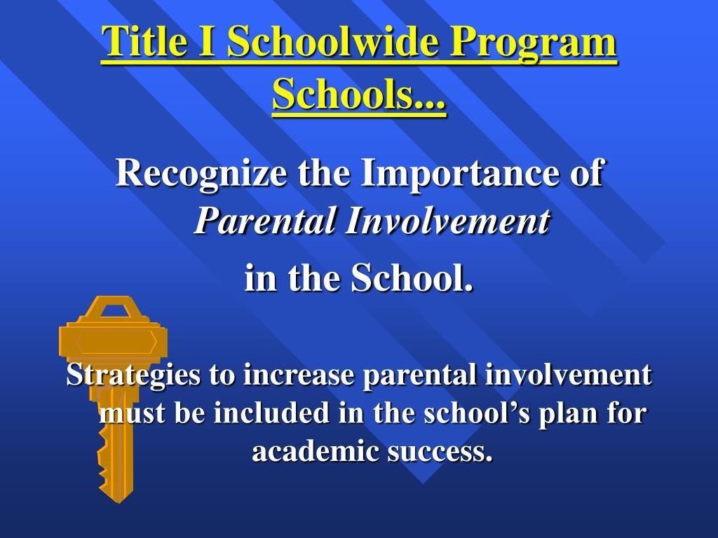 Title I Schoolwide Program Schools...