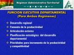 funcion ejecutiva departamental para ambos reg menes