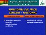 funciones del nivel central nacional