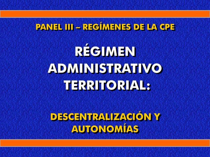 panel iii reg menes de la cpe r gimen administrativo territorial descentralizaci n y autonom as n.