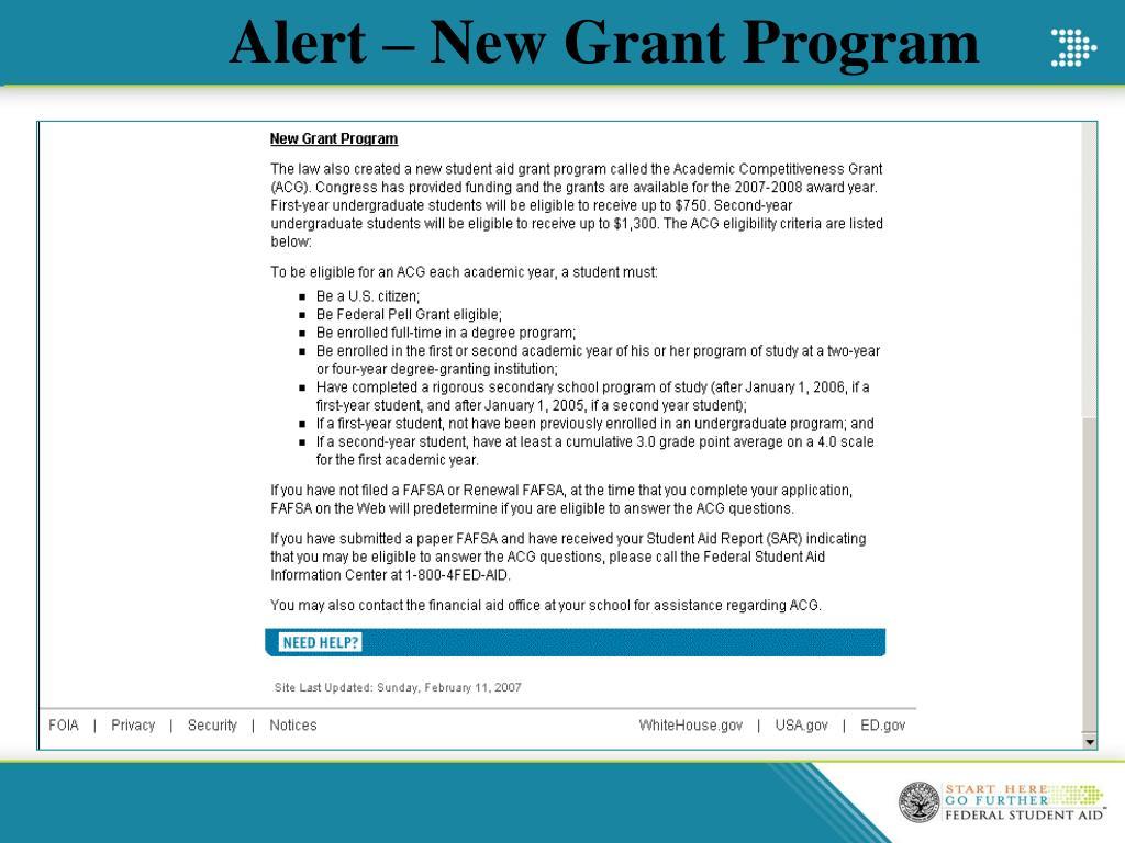Alert – New Grant Program