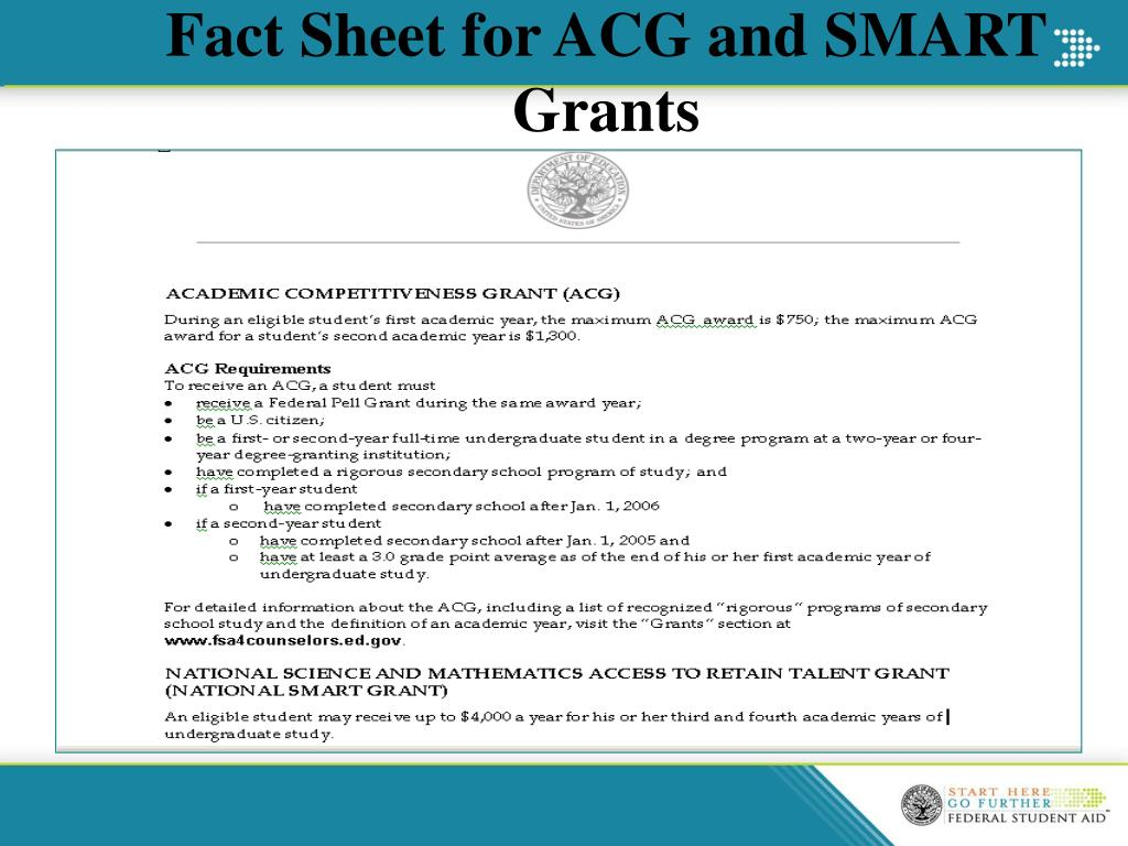 Fact Sheet for ACG and SMART Grants