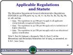 applicable regulations and statute