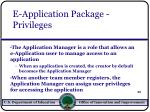 e application package privileges