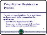 e application registration process