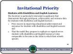 invitational priority