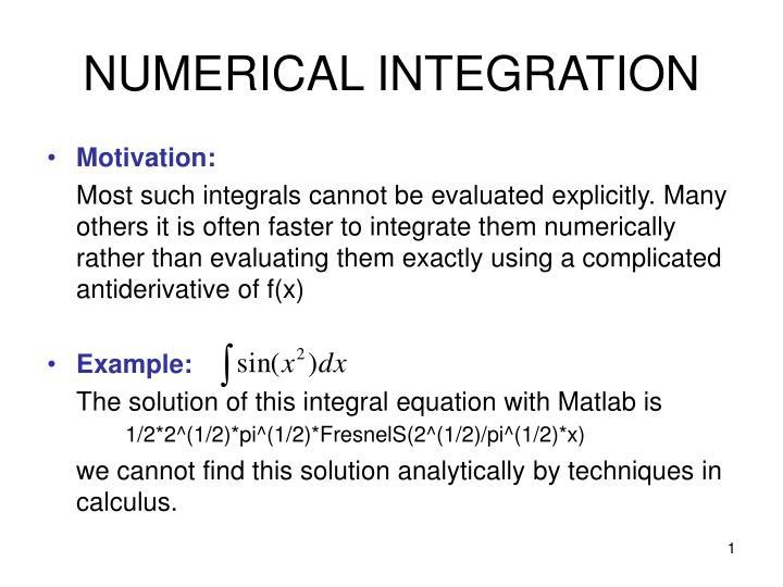 numerical integration n.